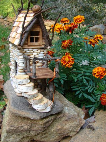 Beach Pebble Stacked Stone Fairy House by TrilbyWorks.com.