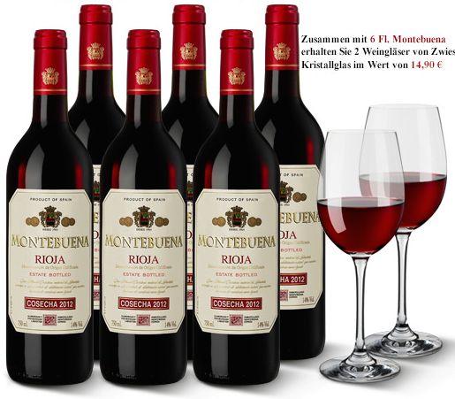 Montebuena Rioja 2012: 6 Flaschen spanischer Rotwein + 2 Weingläser gratis nur 39 Euro statt 59,90 Euro:  http://weinebilliger.de/montebuena-rioja-2012/