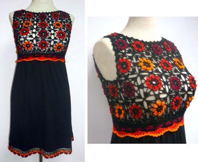 Tejidos Carmesí: vestidos;  Crochet lace yoke