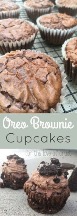 Oreo Brownie Cupcakes with Whipped Chocolate Frosting.