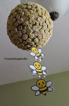 Beehive craft using honeycomb cereal and balloon. Plus Lots of Letter B activities, snack ideas, sensory basket, etc #Preschool #Letter B