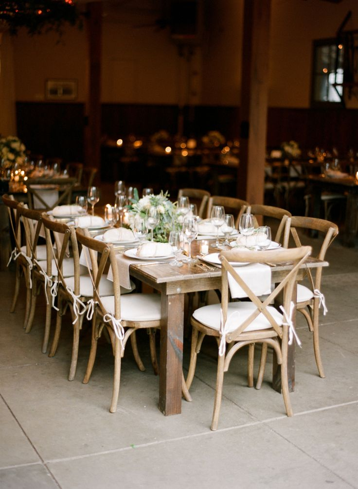 Rustic Uncovered Wooden Reception Tables With Wooden X Back Chairs, Soft  Florals And Warm Candlelight. Design And Florals By Jessica Sloane Event Su2026  ...