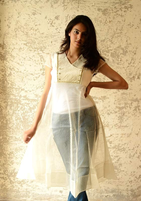 Handwoven Chanderi and organza dress with pin tucked yoke and zari details. Buy here ~ http://shop.gaatha.com/Sonal-kabra
