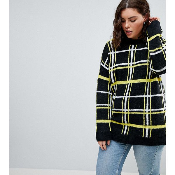 ASOS CURVE Oversized Jumper with Check Pattern (61 CAD) ❤ liked on Polyvore featuring tops, sweaters, black, plus size, plus size jumpers, party jumpers, plus size crew neck sweater, oversized sweaters and plus size tops