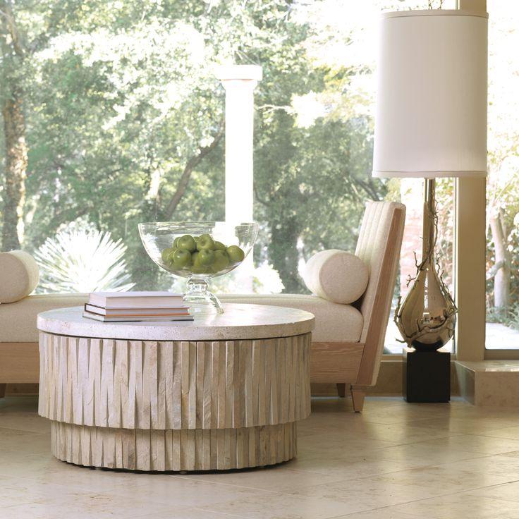 Global Views Round Teeter Totter Stone Indoor/Outdoor Cocktail Table @Zinc_Door