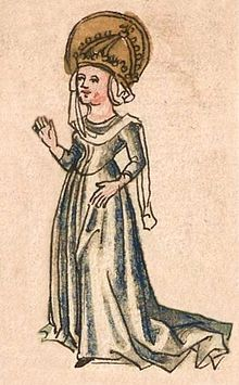Blessed Hildegard von Vintzgau (758 – 30 April 783) was the Germanic daughter of count Gerold of Vinzgouw (Vintzgau) and Emma von Schwaben (also known as: Emma of Alamannia) [who in turn was daughter of Hnabi (Nébi Nebe) von Schwaben, Duke of Alamannia.] She was the second wife of Charlemagne, who married her circa 771. They had nine children.