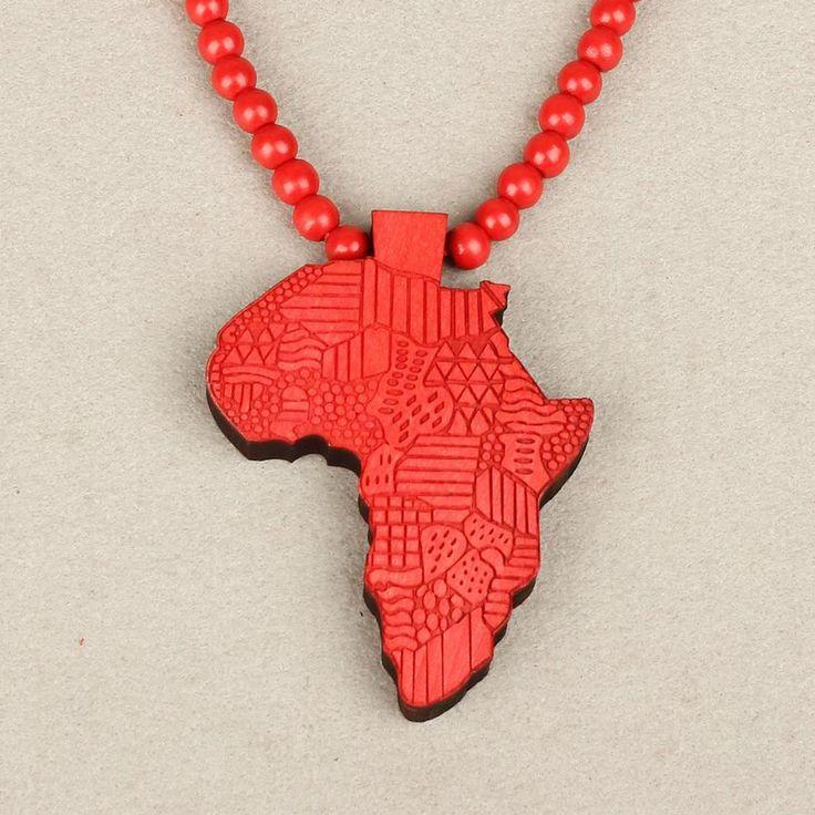 Стильная женская Мода Деревянный Карта Африки Кулон Ожерелье Унисекс Свитер Цепи Ювелирные Изделия Аксессуары Подарки S1003