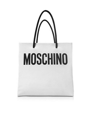 WHITE AND BLACK SIGNATURE LEATHER VERTICAL TOTE MOSCHINO