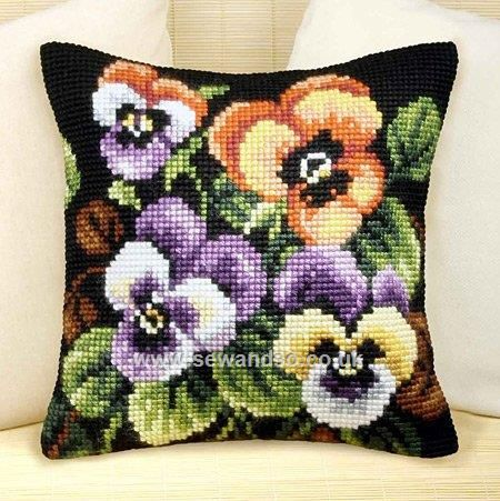 Buy+Pansies+Cushion+Front+Chunky+Cross+Stitch+Kit+Online+at+www.sewandso.co.uk