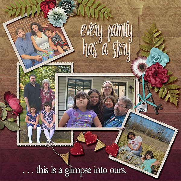 A little glimpse into our family. My hubby and all his girls. My Heritage - July 2016 customer appreciation collab is lovely. Filled with lots of pretty flowers and papers, this collection is perfect for all kinds of layouts