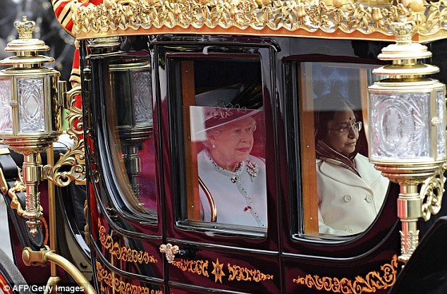 The Queen travels in the Australian State Coach with India's President Pratibha Patil at W...