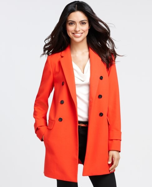 Promenade Coat Code by anntaylor: Salsa Picante. Code SPRING for 30% off. #Coat #Orange_Coat