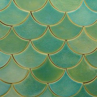 Douglas Watson Tile Green Glaze Scallop Front Door