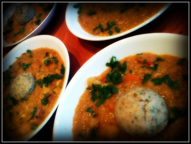 Spanish Lentil Stew with gluten and dairy free steamed dumplings