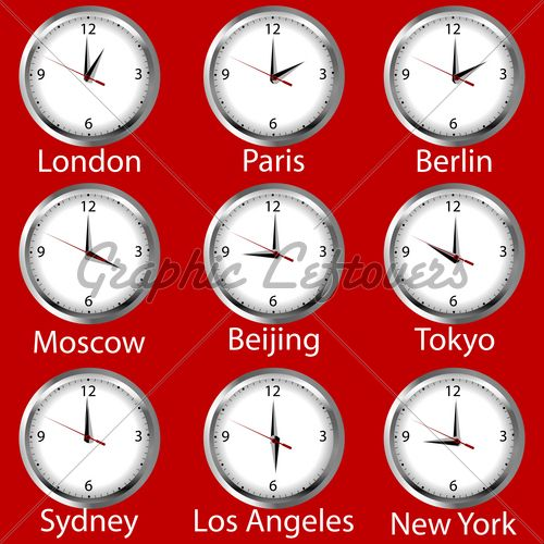 Clocks Showing The Time Around The World. Time Zone. · GL Stock Images | Clock. Time zones. Time zone clocks