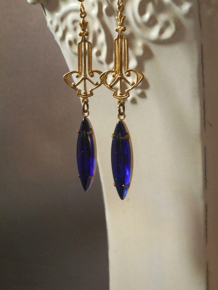 Miss Fisher Earrings - Art Deco Earrings - Phryne Fisher - September Birthday Gift - Downton Abbey Jewelry - 1920s Earrings by BohemeBijou on Etsy