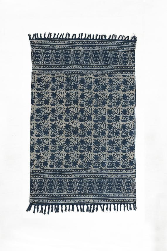 Hand Woven 4 X 6 Indigo Rug Indian Traditional Block Printed