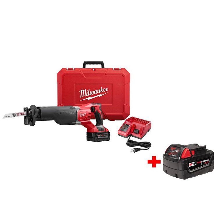 Milwaukee M18 18-Volt Lithium-Ion Cordless Reciprocating Saw Kit with Free M18 4.0 Extended Capacity Battery