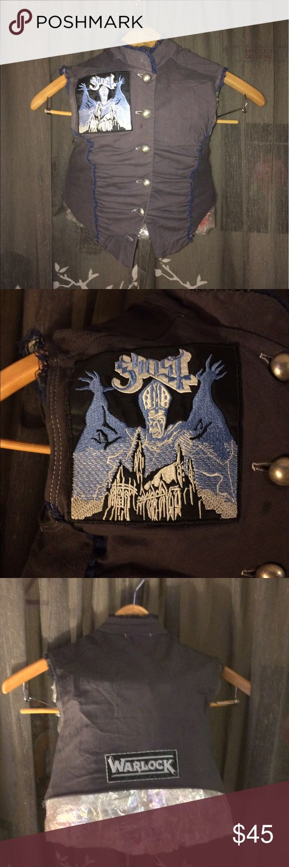 DIY rock n roll metal vest This is a size xs/small modified vest. It's been dyed, cropped, & has two hand sewn patches added on. The bands are Ghost & Warlock. 100% original - no other like it!                    Tags: metal, pink, diy, vest, festival, rock, gray, black, band, music Jackets & Coats Vests