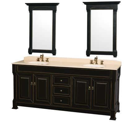 Wyndham Collection Andover 80 quot  Double Black Bathroom Vanity Set with Mirror Top Finish  Ivory. 17 Best ideas about Black Bathroom Vanities on Pinterest   Black