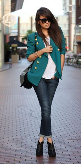 Love the blazer.: Outfits, Fashion, Color, Street Style, Jackets, Styles, Blazers