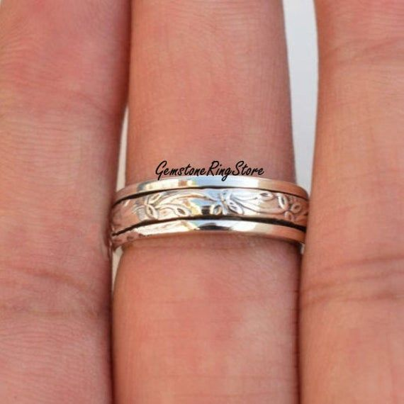 Meditation Ring Thumb Ring Anxiety Ring Promise Ring 925 Silver Ring Gift For Her Fidget Ring Spinner Ring Women Ring Boho Ring
