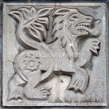 Old bas-relief of fairytale lion — Stock Photo #5763650