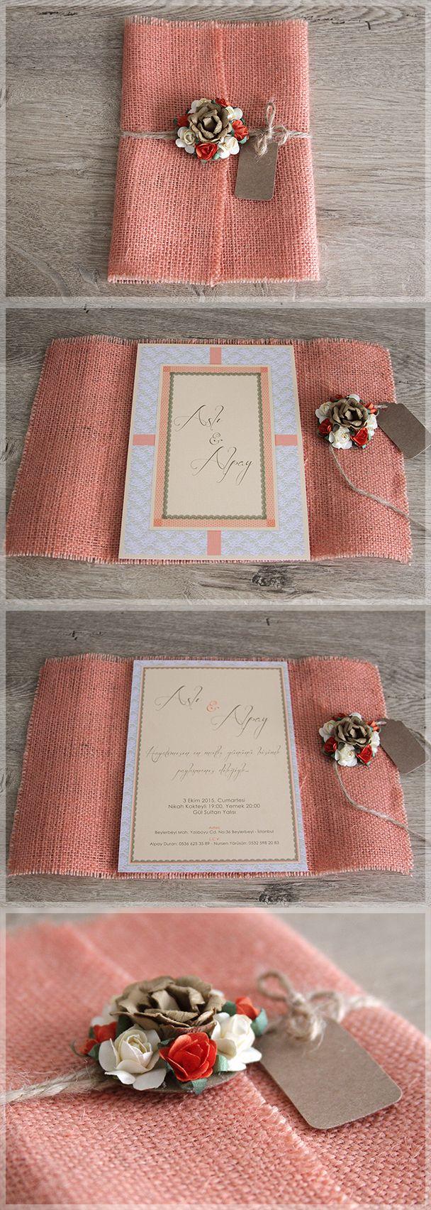 Restyling our Classical Beauty wedding invitation by covering with salmon pink burlap and adding colorful flowers for our bride&groom Asli&Alpay /// Aslı&Alpay için Classical Beauty modelimizi renkli çuval kumaşa sarıp çiçeklerle süsledik. Aslı&Alpay'a sonsuz mutluluklar diliyoruz. C.B. with Burlap, model no:D1013 bilgi&siparis icin: www.lovelycolors.com.tr
