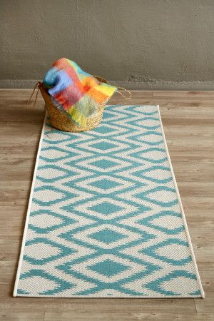 Aqua Diamond (0.8 X 2.3 m Runner): Water-resistant, durable poly-propylene woven flatweave (0.8 X 2.3 m runner). Ad...