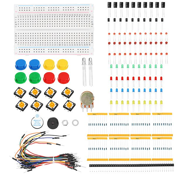 KS Starter Learning Set DIY Kit electrónico para Arduino Resistor / LED / Capacitor / Jumper Wires / Breadboard / Potenciómetro / zumbador / Switch / 40 pin header