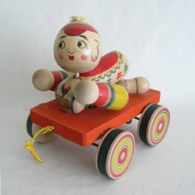 Yajiro Traditional Pull Toy Baby on Wagon   Kyoto Traditions