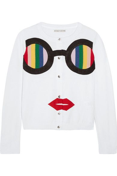 Alice Olivia - Ruthy Rainbow Staceface Appliquéd Cotton-blend Cardigan - White - x small