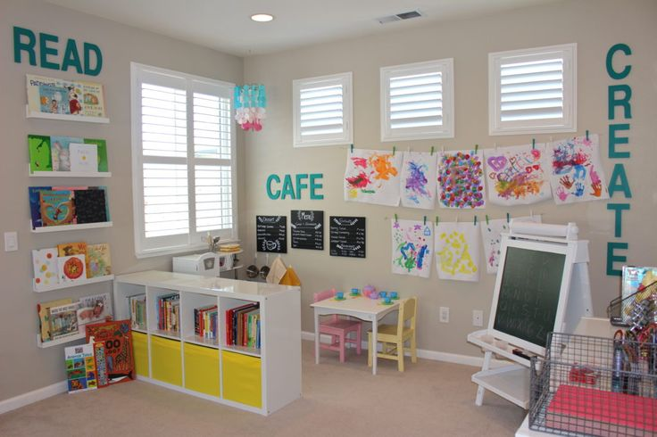 Project Nursery - Preschool Inspired Playroom ... Black and Neon ... .love the giant letters on wall