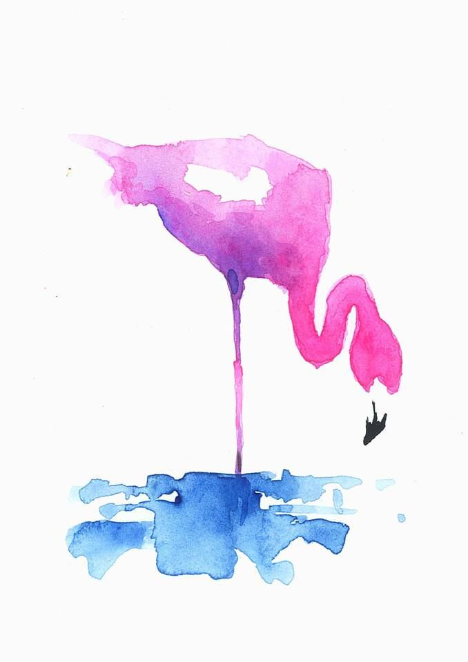 watercolor, art, painting, pink flamingo, watercolour