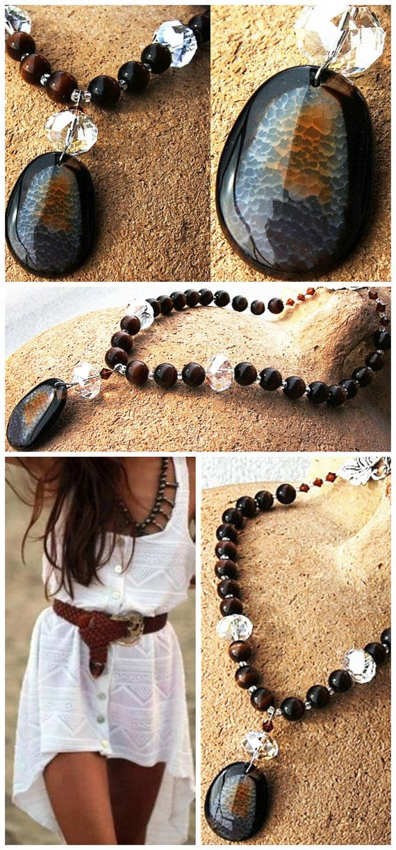 shoes for 2015 summer High Fashion Boho Agate Statement Necklace  Large by KapKaDesign   175 00