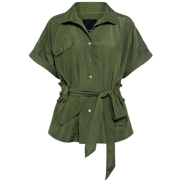 Marissa Webb - Clara Trench Jacket (1,490 SAR) ❤ liked on Polyvore featuring outerwear, jackets, green field jacket, fitted jacket, army jacket, green military jacket and field jacket