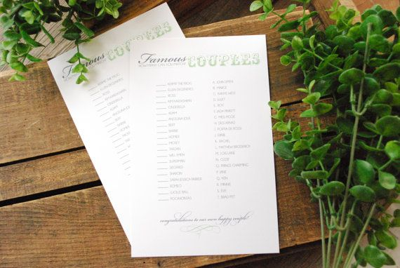 Famous Couples Bridal Shower Game - Multiple Colors Available