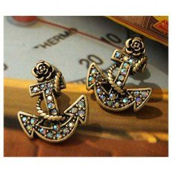 $1.99 Retro and Chic Style Anchor Pattern and Faux Jewels Decorated Earrings