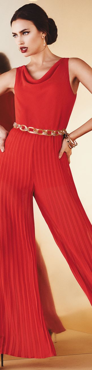 Bebe ~ Red Knit Jumpsuit, Fall 2015