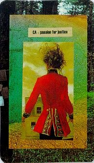 Passion for Justice from the Kyriel Tarot Deck by Scent of CloveWorth Reading, Art Things, Kyriel Tarot, Divination Image, Book Worth, Kiira Kirsijona, Collage Decks, Tarot Decks