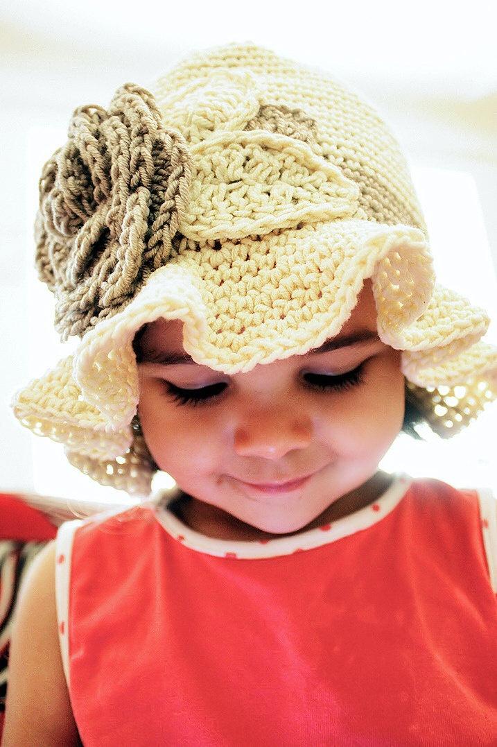 3 to 6m Sun Hat Baby Flower Hat - Cream Crochet Cloche Hat Rose Flower Leaf Baby  Hat Brim Flapper Hat Infant Girl Hat Photograpy Prop  524e815c9aa