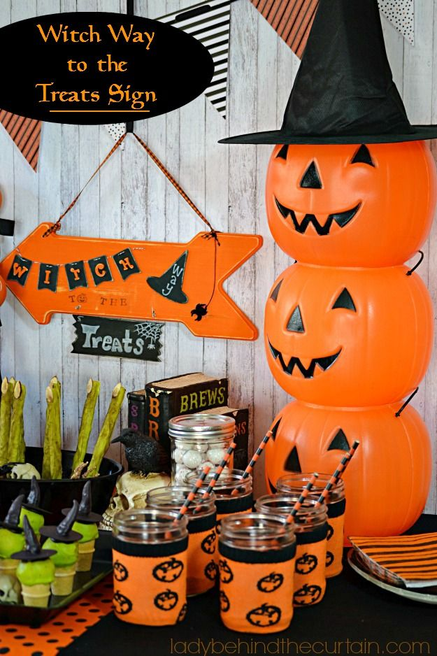 add this fun witch way to the treats sign to your halloween dessert party table
