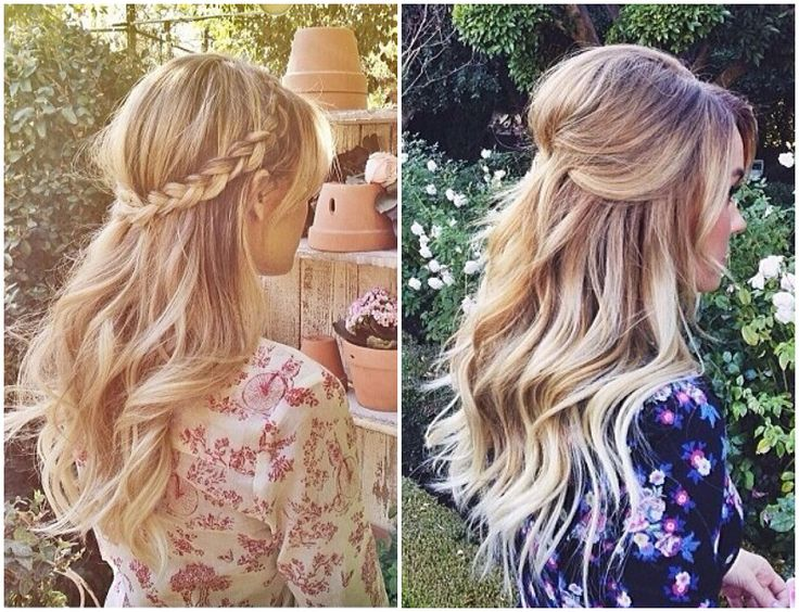 Long Blond Wavy Summer Hair. Half Updo Braid. Lauren