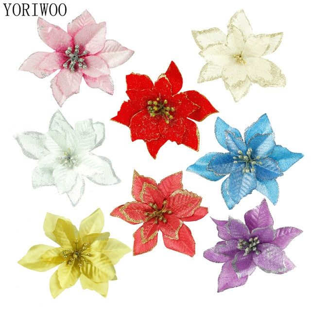 Yoriwoo 20pc Artificial Flowers For Decoration Glitter Poinsettia Fake Flowers Diy Home Wedding Decoration Flower Head Christmas Review Fake Flowers Diy Home Wedding Decorations Wedding Flower Decorations