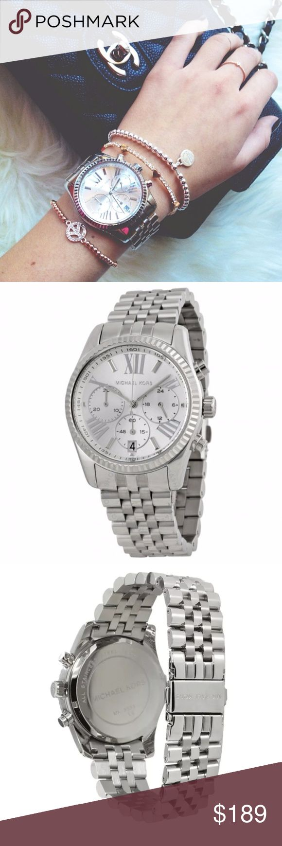 Michael Kors Lexington Silver Quartz Movement Case diameter: 38mm Mineral Crystal Stainless Steel case with Stainless-Steel band Water-resistant to 100 Meters / 330 Feet / 10 ATM Specifications  Country Of OriginChina GenderWomen's MetalStainless Steel ColorSilver Watch Band MaterialStainless Steel KORS Michael Kors Accessories Watches