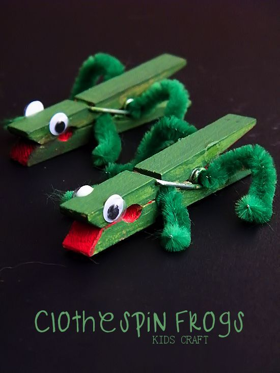 Clothespin Frogs Kids Craft