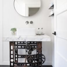 Classic White Bathroom With Industrial Vanity