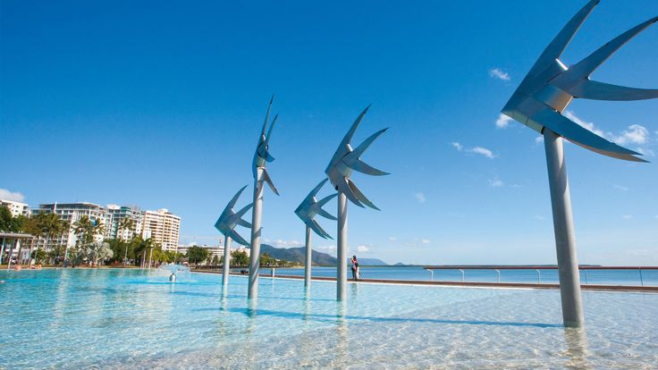 The gateway to Queensland's tropical north, Cairns is a stylish city, which is also renowned for its relaxed, tropical climate and laid back ambience. With islands, rainforests and reefs on its doorstep, from Cairns you can swim, snorkel, dive and sail the World Heritage-listed Great Barrier Reef. This photo is the water feature in the middle of downtown.