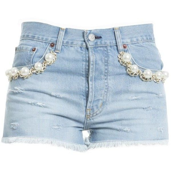 Light Blue Cotton Shorts (1780 MAD) ❤ liked on Polyvore featuring shorts, light blue, womenclothingjeans, light blue shorts and blue cotton shorts