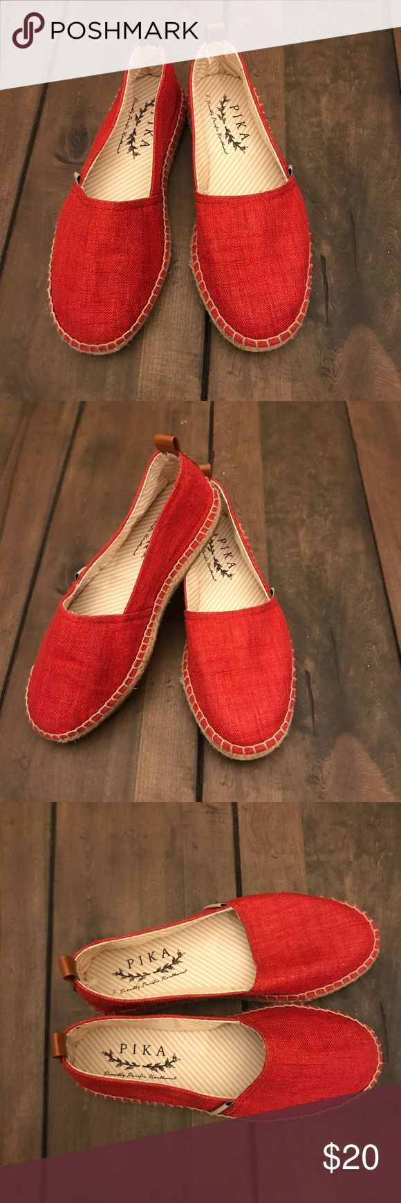 Women's Red Espadrille Flat Easy slip-on style flat. Worn only twice. Cute with skinny jeans or shorts Pika Shoes Flats & Loafers